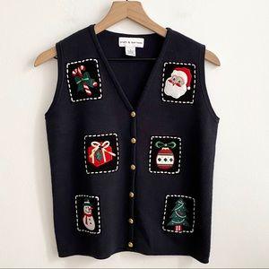 Kohl's Croft & Barrow Navy Christmas Vest SZ Small